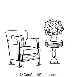 Tisch gezeichnet  Satz, -, hand, tisch, gezeichnet, stuhl. Satz, abstrakt ...