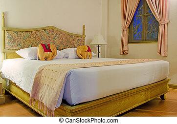 zimmer, hotel, zeitgenössisch, bett, einstellung, typisch