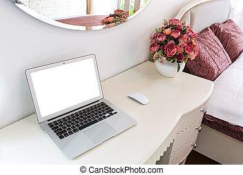 zimmer, laptop, modern, bett, edv, inneneinrichtung