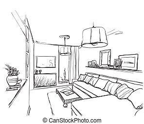 Sofa gezeichnet  Vektor Clipart von zimmer, furniture., sofa, hand ...