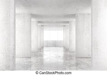 zimmer, render, boden, groß, wände, beton, fenster, leerer , 3d