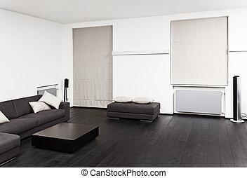 zimmer, sitzen, modern, teil, schwarz, töne, inneneinrichtung, weißes