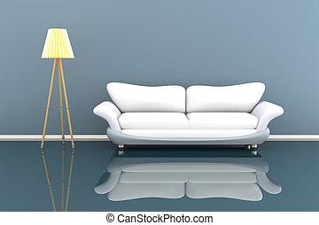 zimmer, sofa, grau, abbildung, lampe, weißes, 3d