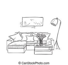Sofa gezeichnet  EPS Vektorbild von zimmer, sofa, hand, inneneinrichtung ...