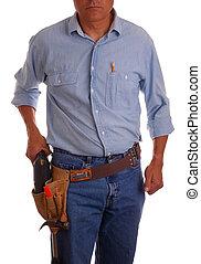 zimmermann, in, toolbelt, besitz, bohrmaschiene