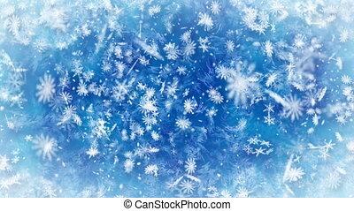 zimowy, opad śnieżny, tło, loopable