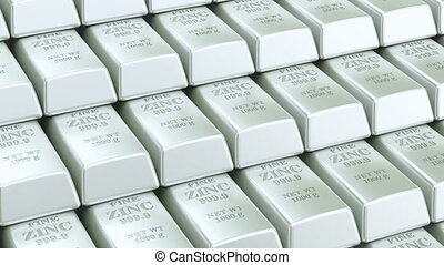 Zinc bars background, animation. 3D rendering