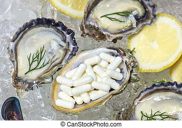 Zinc capsule supplementary food oyster seafood lemon dill...
