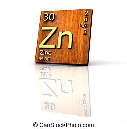 Zinc form Periodic Table of Elements  - wood board - 3d made