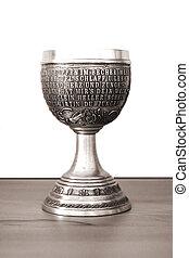 Zinc mug - The photograph of an antique zinc mug with...
