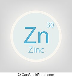 Zinc Zn chemical element icon- vector illustration