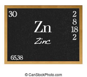 Zinc, Zn. - Isolated blackboard with periodic table, Zinc.