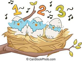 zingen, nest, 123, vogels, illustratie