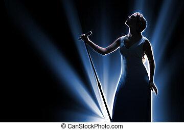 zinger, vrouwlijk, toneel