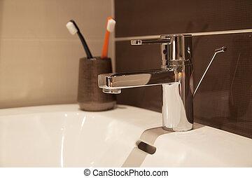 zinken, badkamer, detail, tijdgenoot