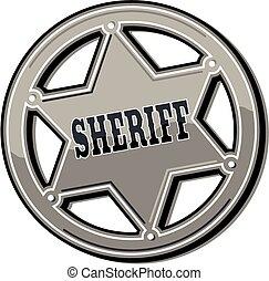 zinn, abzeichen, sheriff