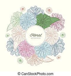zinnia, hand-drawing., vecteur, fleur, illustration.