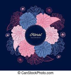 zinnia, hand-drawing., vector, flor, illustration.
