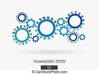 zintegrowany, handlowy, powodzenie, komunikacja, concept., praca, text., strategia, idea., words., związany, zaprzęg teamwork, mechanizmy, praca badawcza, koła zębate, plan