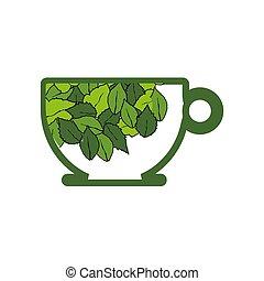 ziołowy, organiczny, herbata, logo, filiżanka, liść, zdrowy, życie