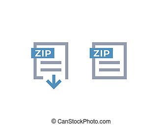 Zip archive, download file icons