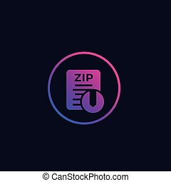 Zip archive file icon, vector
