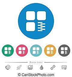 Zip component flat round icons
