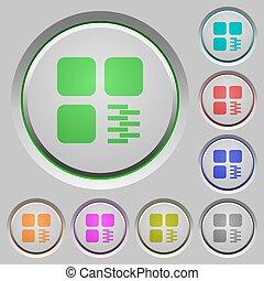 Zip component push buttons