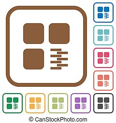 Zip component simple icons in color rounded square frames on white background