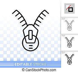 Zip Fastener simple black line vector icon