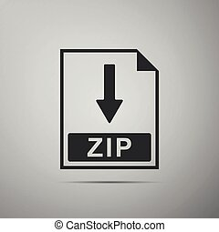ZIP file document icon. Download ZIP button icon isolated on grey background. Flat design. Vector Illustration