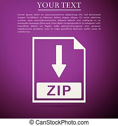 ZIP file document icon. Download ZIP button icon isolated on purple background. Flat design. Vector Illustration