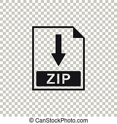 ZIP file document icon. Download ZIP button icon isolated on transparent background. Flat design. Vector Illustration