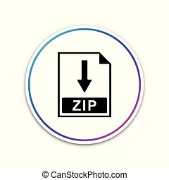 ZIP file document icon. Download ZIP button icon isolated on white background. Circle white button. Vector Illustration