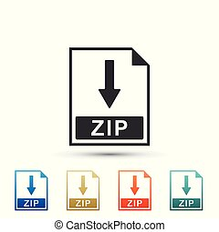 ZIP file document icon. Download ZIP button icon isolated on white background. Set elements in colored icons. Flat design. Vector Illustration