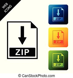 ZIP file document icon. Download ZIP button icon isolated. Set icons colorful square buttons. Vector Illustration