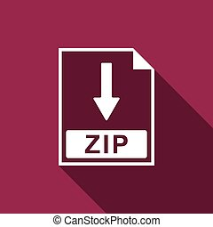 ZIP file document icon. Download ZIP button icon isolated with long shadow. Flat design. Vector Illustration