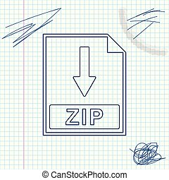 ZIP file document icon. Download ZIP button line sketch icon isolated on white background. Vector Illustration