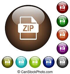 ZIP file format color glass buttons