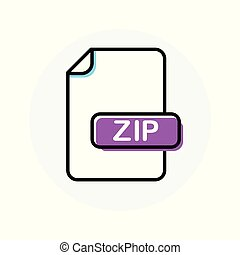 ZIP file format, extension color line icon