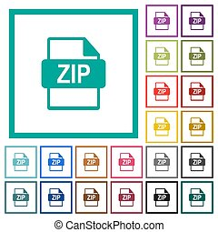 ZIP file format flat color icons with quadrant frames