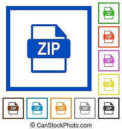 ZIP file format framed flat icons