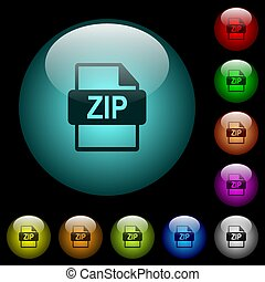 ZIP file format icons in color illuminated glass buttons