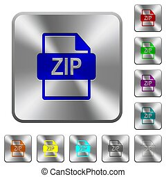 ZIP file format rounded square steel buttons