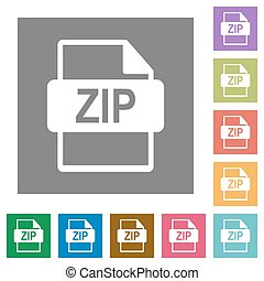 ZIP file format square flat icons