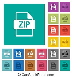 ZIP file format square flat multi colored icons