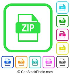 ZIP file format vivid colored flat icons icons