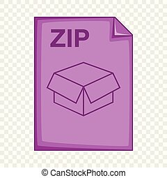 ZIP file icon, cartoon style