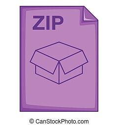 ZIP file icon, cartoon style