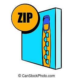 ZIP file icon in cartoon style isolated illustration